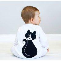 Halloween Cat Baby Sleepsuit, White/Grey/Black