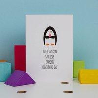 Penguin Personalised Christening Card