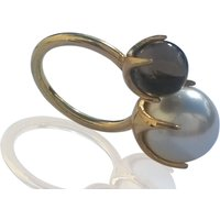 Pearl And Smoky Topaz Gold Ring, Gold