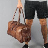 Drake Leather Gym Bag With Two End Flap Pockets