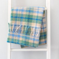 Pure New Wool Broad Stripe Or Check Pram Blankets, Raspberry/Green/Brown
