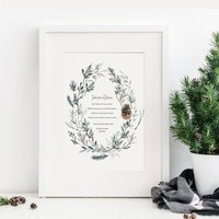 Personalised Winter Godparents Christening Print