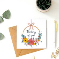 Thinking Of You Flower Wreath Card
