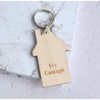 Personalised Wooden House Name Keyring