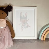 A5 Dancing Rabbit Nursery Print