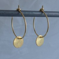 Brushed Gold Disc Hoops, Gold