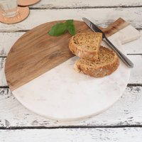 Artisan Round Wood And Marble Chopping Board