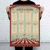 Funfair Circus Themed Wedding Seating Table Plan
