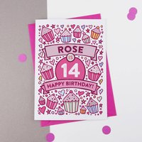 14th Birthday Card Cupcake Personalised