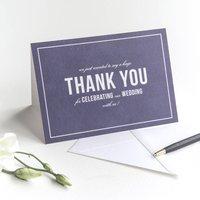 Wedding Thank You Card / Navy Blue, Blue