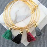 Gold Tassel Bangle Bracelet, Gold