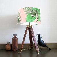 Tropical Plant Lampshade, Pink/White/Grey