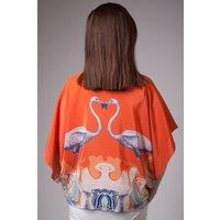 Handmade Silk Kimono, Hand Drawn Flamingo