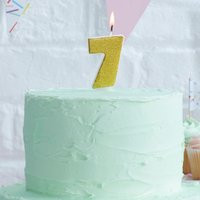 Gold Glitter Number Seven Birthday Cake Candle