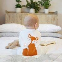Fox Baby Sleep Suit, White/Grey