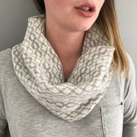Grey And White Ladies Lambswool Cowl