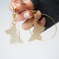 Gold Detail Butterfly Hoop Earrings, Gold