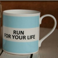 'Run For Your Life' Fine Bone China Mug, Coffee/Yellow/Lilac