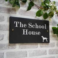 British Slate Traditional House Sign With Animal, White/Silver/Gold