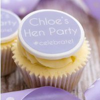 Hen Party #Celebrate Cupcake Decorations, Lilac/Pink/Blue