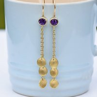 Amethyst And Petal Drop Earrings In 18ct Gold, Gold