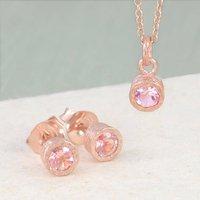 Pink Tourmaline Birthstone Rose Gold Jewellery Set, Gold