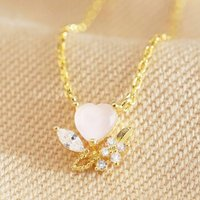 Pink Crystal Heart Pendant Necklace In Gold, Gold