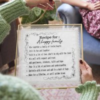 Embroidered Handkerchief Recipe For A Happy Family