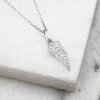 18ct White Gold And Diamond Set Angel Wing Necklace, Gold