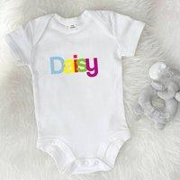 Multicoloured Personalised White Babygrow