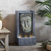 Buddha Face Illuminated Garden Water Feature