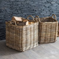 Set Of Two Rattan Square Baskets Pre Order February