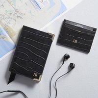 Black Leather Personalised Travel Set