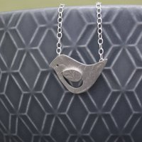 Sterling Silver Watercolour Baby Bird Necklace, Silver