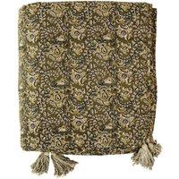 Green Floral Print Padded Blanket