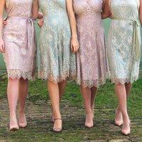Bespoke Bridesmaid Dresses In Platinum And Powder Lace