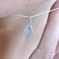 Tiny Penguin Diamond Birthstone Sterling Necklace