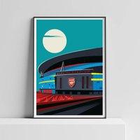 Arsenal Under The Moon Illustrated Art Print Of London