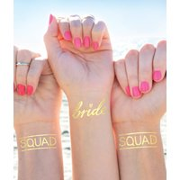 Squad Hen Party Gold Metallic Temporary Tattoo