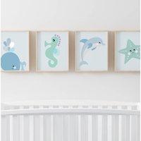 Set Of Four Sea Children's Nursery Prints, White/Blue/Pink
