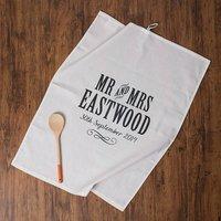 Personalised Mr And Mrs Anniversary Tea Towel Cotton