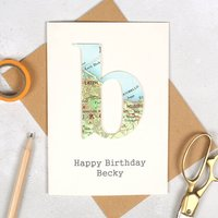 Personalised Map Letter Birthday Card, White/Brown