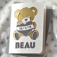 New Baby Teddy Bear Papercut Card