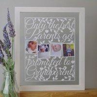 Personalised 'Best Parents' Grandparent Papercut, Midnight/Black/White