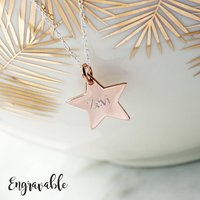 Personalised Engraved Rose Gold Star Necklace, Gold