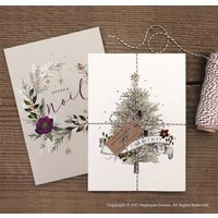 Pack Of Luxury Christmas Tree And Wreath Cards