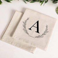 Set Of Four Personalised Monogram Cotton Napkins