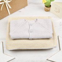 Baby Cosy Cardigan And Yellow Mini Stripe Blanket Set