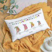 Personalised Robin Family Christmas Cushion