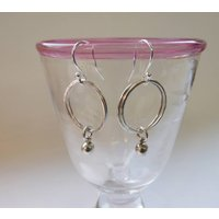 Silver Hoop And Bead Drop Earrings, Silver